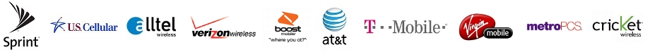 including AT&T, T-Mobile, Verizon, Sprint, Boost, MetroPCS, Alltel, Cricket, U.S Cellular